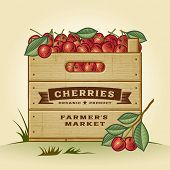 picture of crate  - Retro crate of cherries - JPG