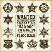 Постер, плакат: Vintage sheriff marshal and ranger badges set Fully editable EPS10 vector