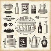 stock photo of crockery  - Vintage kitchen set - JPG