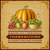 foto of fruit bowl  - Vintage Thanksgiving Card - JPG