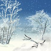 picture of frozen  - Vector artistic painting winter watercolor landscape with birds snow frozen trees - JPG