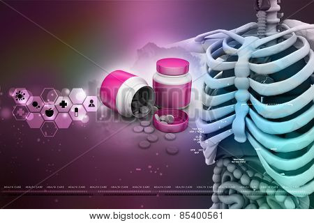 human anatomy with medicine bottle