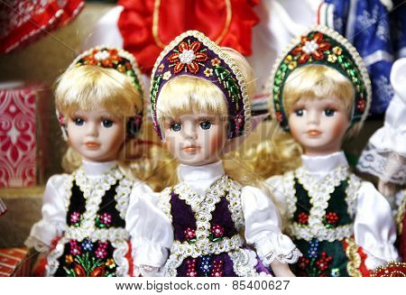 Toy Dolls In Authentic Hungarian Folk Costumes