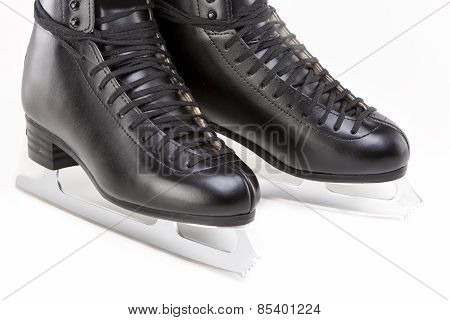 Closeup Of Black Professional Mens Figure Skates Isolated Over White Background