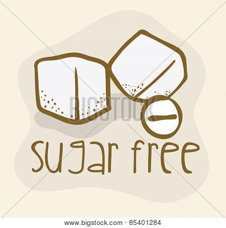 Sugar free over beige background vector illustration