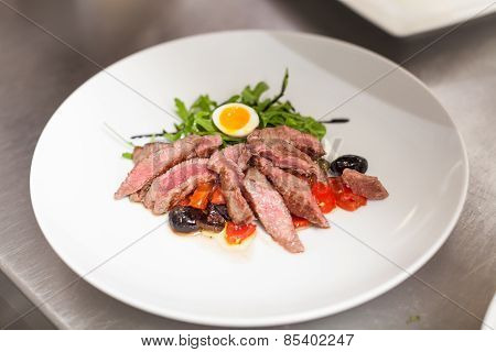 Serving Of Delicious Medium Rare Sliced Steak
