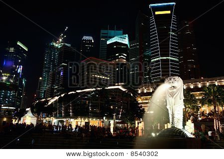 Night View Of Singapore City