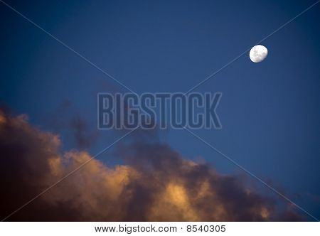 White Moon And Dusk Clouds