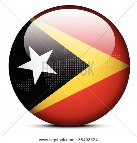 Map With Dot Pattern On Flag Button Of Democratic Republic  Timor-leste