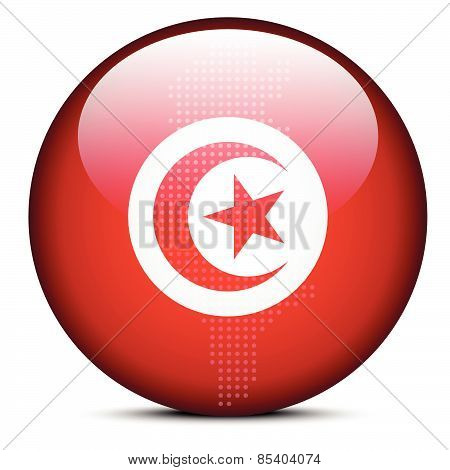 Map With Dot Pattern On Flag Button Of Tunisian Republic