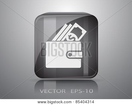 Wallet icon, vector illustration