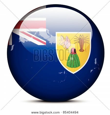 Map On Flag Button Of Turks And Caicos Islands, British Overseas Territory