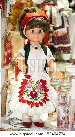 Toy Doll In Authentic Hungarian Folk Costumes