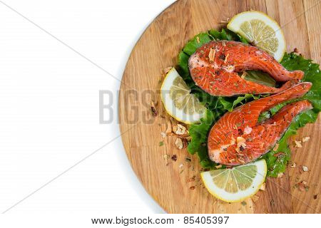 Marinated Salmon On Wood Plank
