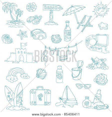 Seaside and Summer - design elements in vector
