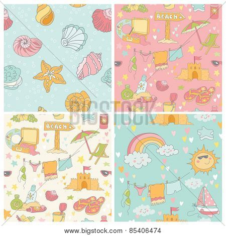 Set of Seaside and Summer Background - Seamless Patterns - in vector