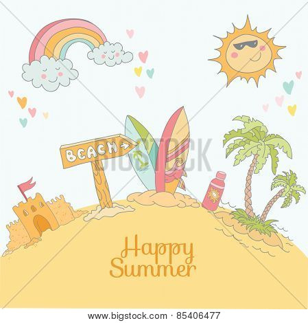 Summer Beach Card - with place for your text - in vector