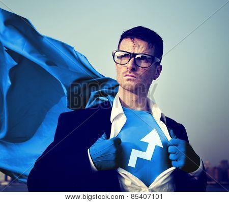 Strong Superhero Businessman Development Concept