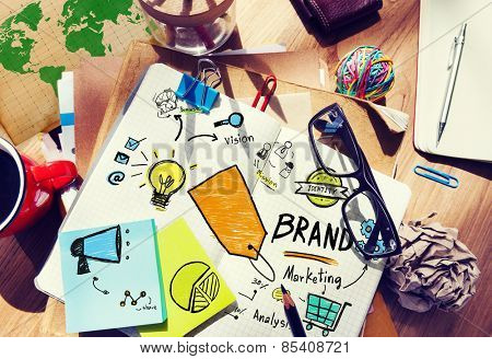 Messy Office Table Workplace Marketing Brand Concept