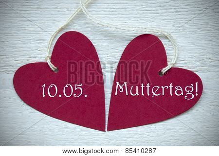 Two Red Hearts Label German Text Muttertag Means Mothers Day