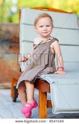 Vertical Full Body Portrait Of Adorable Toddler Girl