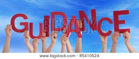 Many People Hands Holding Red Word Guidance Blue Sky
