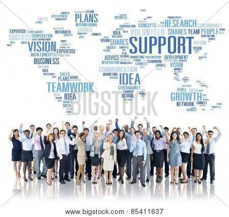 Global Business People Celebration Support Teamwork Concept