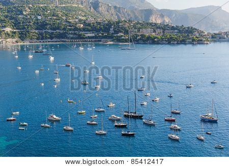 View of Monaco and many yachts