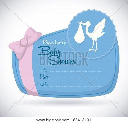 Baby shower design over beige background vector illustration