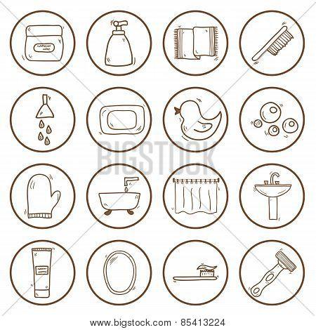 Set of hand drawn bathroom icons