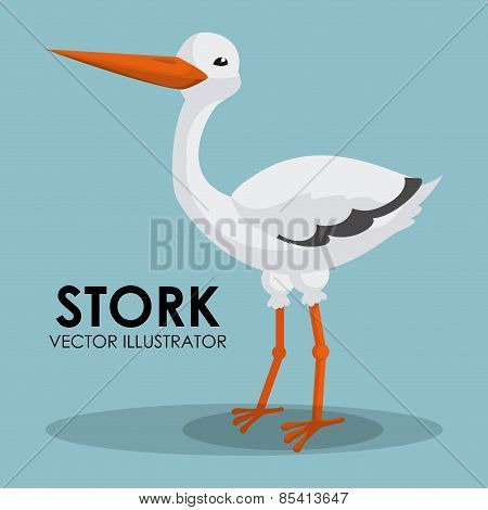 Stork design over blue background vector illustration