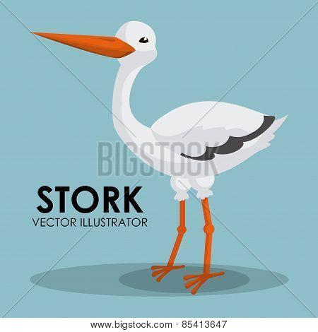 Stork design over blue background vector illustration