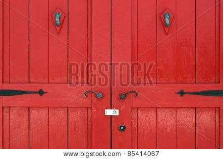 wooden red door