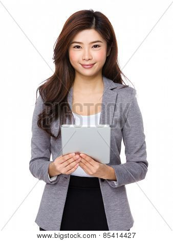 Using pad PC business woman
