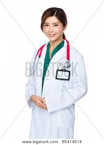 Young doctor woman with stethoscope
