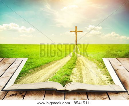 Open book with grass and a way walking towards a cross