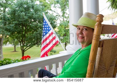 Trendy Elderly Lady With The American Flag