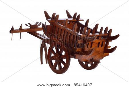 Wooden Cart Isolated On White Background