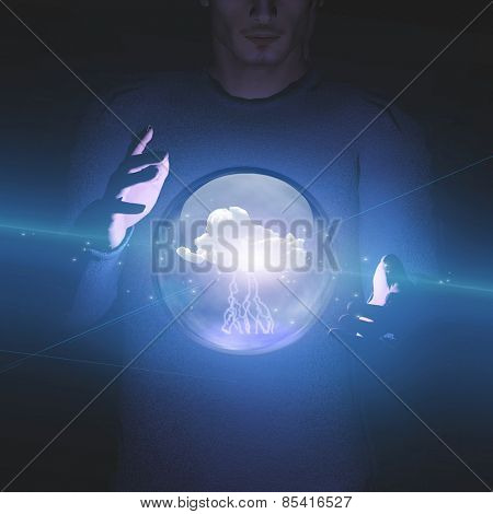 Man manipulation of sphere containing cloud and lightning