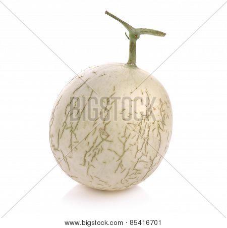 Cantaloupe Melon Fruit On White Background
