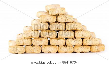 Macro of a pile of dog biscuits