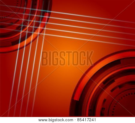 Orange line grid technical abstract background