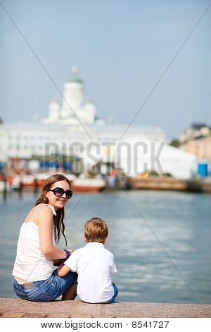 Vertical Photo Of Mother And Son In City Center Helsinki Finland