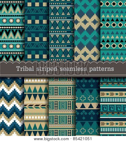 Tribal striped seamless patterns