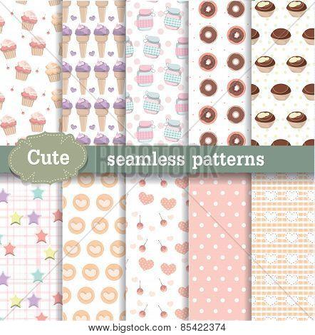Cute Seamless Patterns Set 4