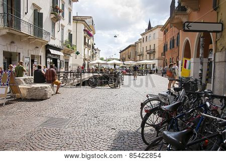 Bicycles On The Street In Verona. Selective Focus