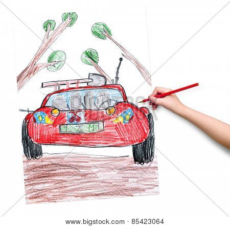 off road car. child drawing.