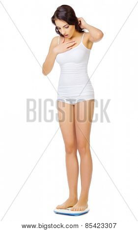 Young healthy girl on home scales isolated