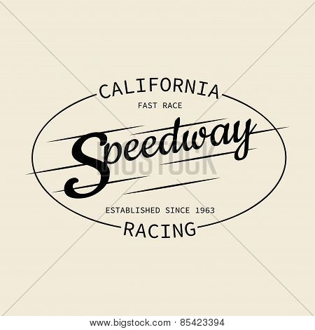Stamp Of Speedway Racing For Typography