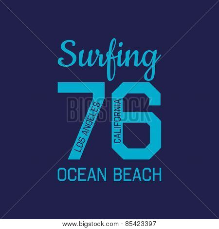Stamp Of California Ocean Beach Surf For Typography
